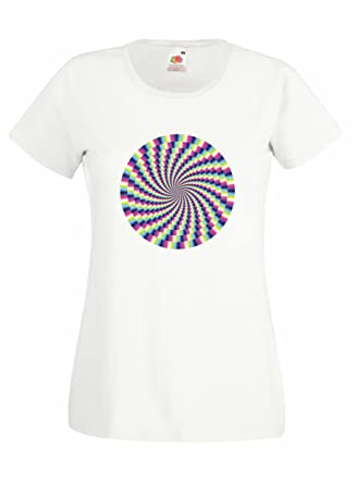 518a476a0 optical illusion 100% cotton women fruit of the loom custom printed t-shirt:  Amazon.co.uk: Clothing