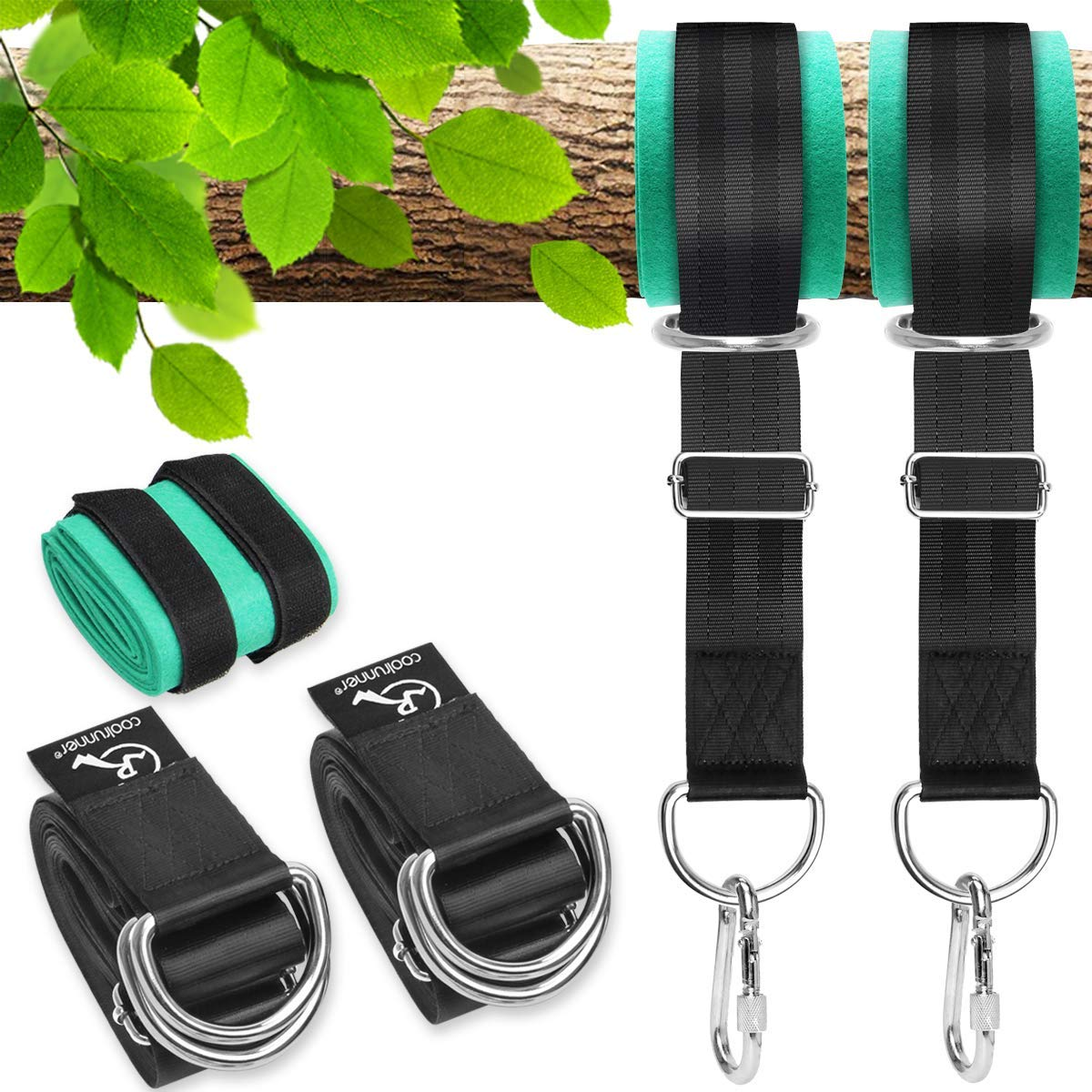 Coolrunner 10FT Tree Swing Straps Hanging Kit - 5000Lbs Break Strength - Extra Long Swing Hammock Straps with Two Zinc Alloy Carabiners - for All Type of Swings