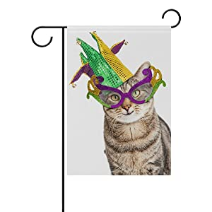 ALAZA Double Sided Funny Cat Happy Mardi Gras Polyester Garden Flag Banner 12 x 18 Inch for Outdoor Home Garden Flower Pot Decor