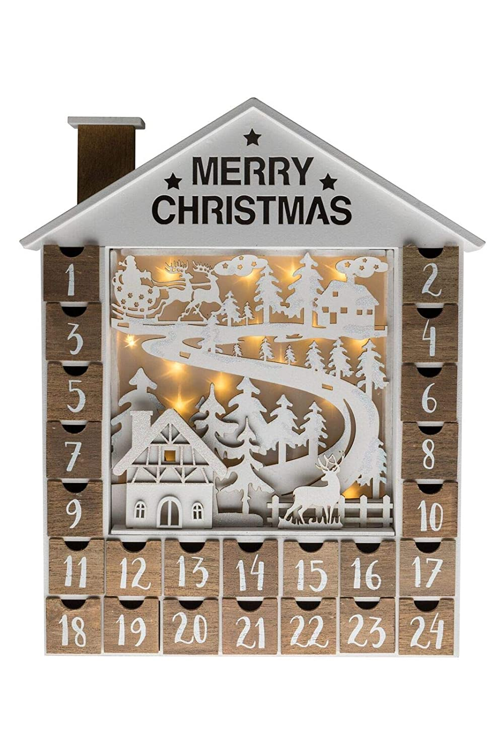 Clever Creations Advent Calendar Christmas Decoration with Lights Traditional Wooden House with 24 Drawers | Festive Holiday Decor | Beautiful Christmas Scene 806810338612