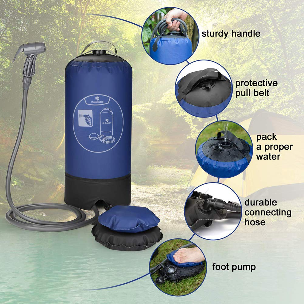 Dr. Prepare Camping Shower, 4 Gallons Portable Outdoor Camp Shower Bag Solar Shower with Pressure Foot Pump & Shower Nozzle for Beach Swim Travel Hiking - Blue: Beauty