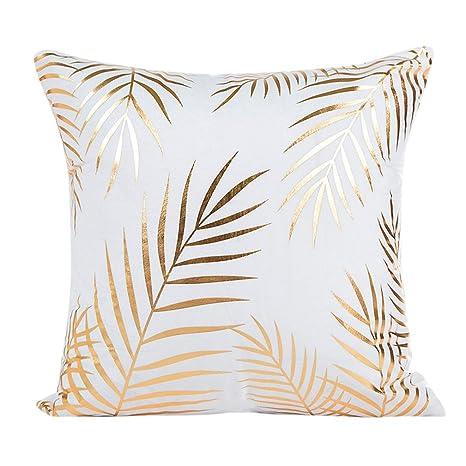 Rusaly Funda de almohada para sofá, diseño de estampado de lámina dorada, decoración del hogar, algodón mixto, Leaves, 18 X 18 inch