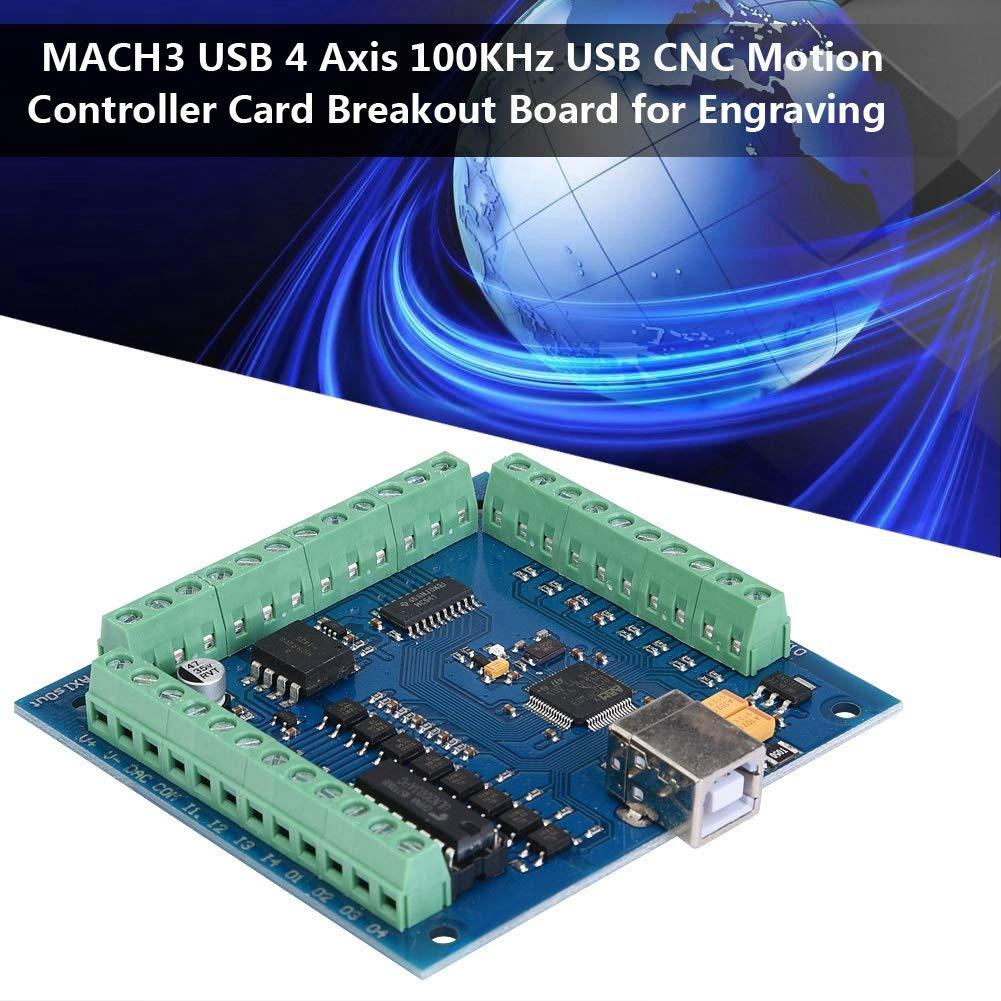 Keenso CNC USB Karte Breakout Board CNC USB Motion Control Karte Mach3 4 Achsen 100KHz f/ür CNC-Gravur