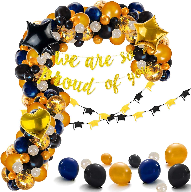104Pack Graduation Decorations - Navy Blue, Black and Gold Balloons Arch, Foil Balloons, Graduation Decor for Graduation Party Supplies, Retirement Party Decorations, Black and Gold Party supplies