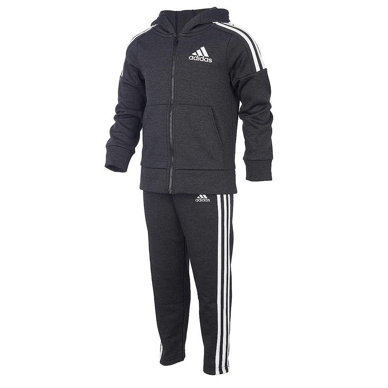 adidas Boys' Tricot Jacket and Pant Set (5, BM Black/White/Black) by adidas