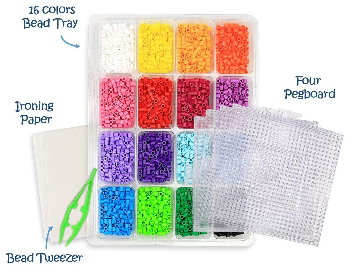 kedudes Multi Color Perler Beads Kit - Tray of 16 Fun Color Perler Fuse  Beads (4000 Beads) with Four Clear Square Pegboard Set Plus A Bead Tweezers