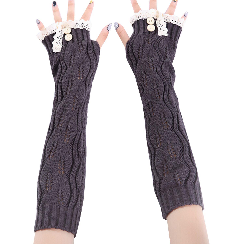 Qinol Lady Lace Trim Long Crochet Finger Warm Fingerless Gloves Arm Warmer
