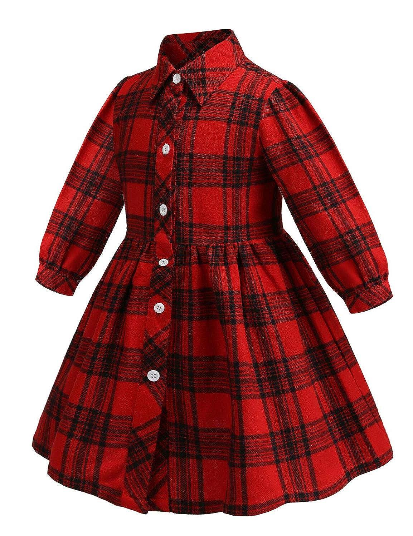 Aivdoirla Princess Dress Baby Girls Plaid Dress Long Sleeve Cute Party Christmas Playwear