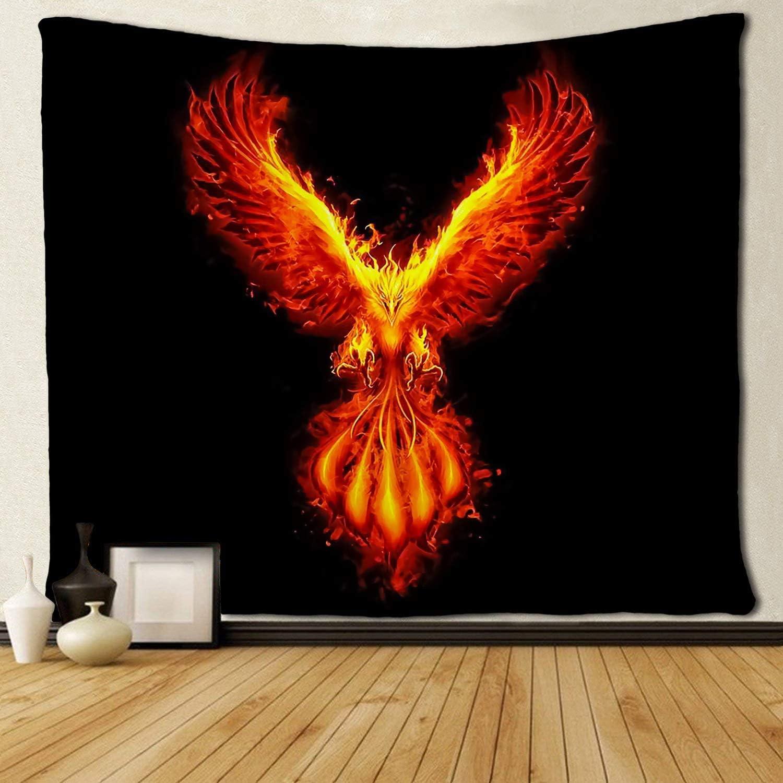 JOOCAR Burning Phoenix Tapestry Wall Hanging Hippie Art Tapestries Hanging Art Decor for Living Room Bedroom