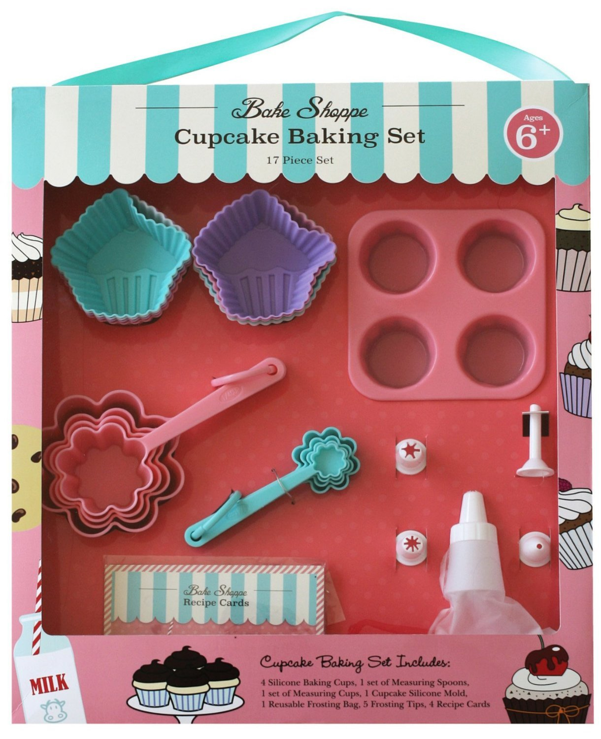 Handstand Kitchen Bake Shoppe 17-piece Real Cupcake Baking Set with Recipes for Kids