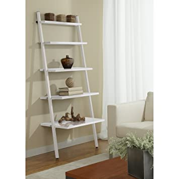 Genial Unique Furniture B3071 WH 5 Tier Leaning Ladder Bookshelf, White