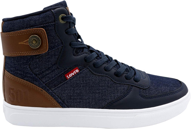 Jeffrey Hi Denim 501 Sneaker, Navy/Tan