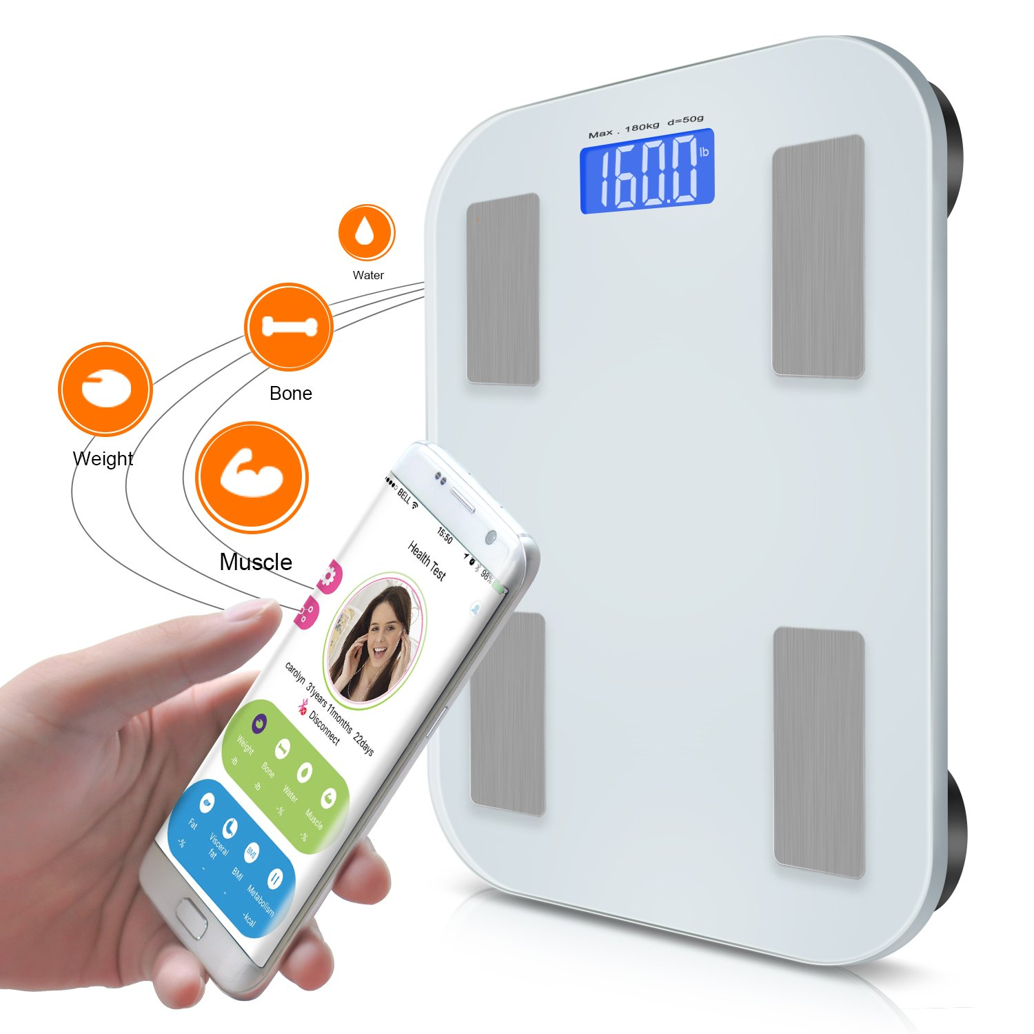 Adoric Smart Scale Bathroom Scale with Free APP for Android and IOS, Body Composition Analysis Measuring Weight, Bone, Water, Muscle, Fat, BMI, BMR by Adoric (Image #2)