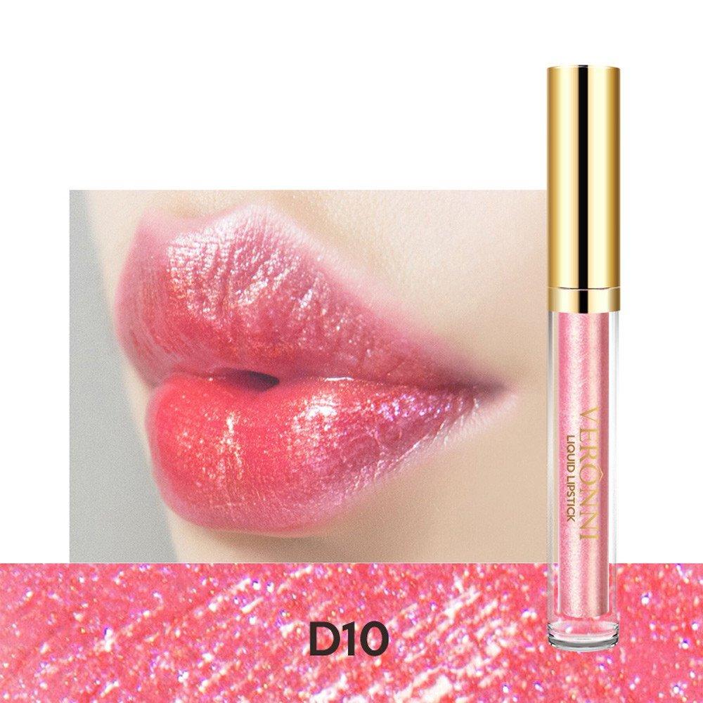 Rouge à lèvres liquide, Lonshell Lèvres imperméables métalliques Gloss cosmétiques (D09)