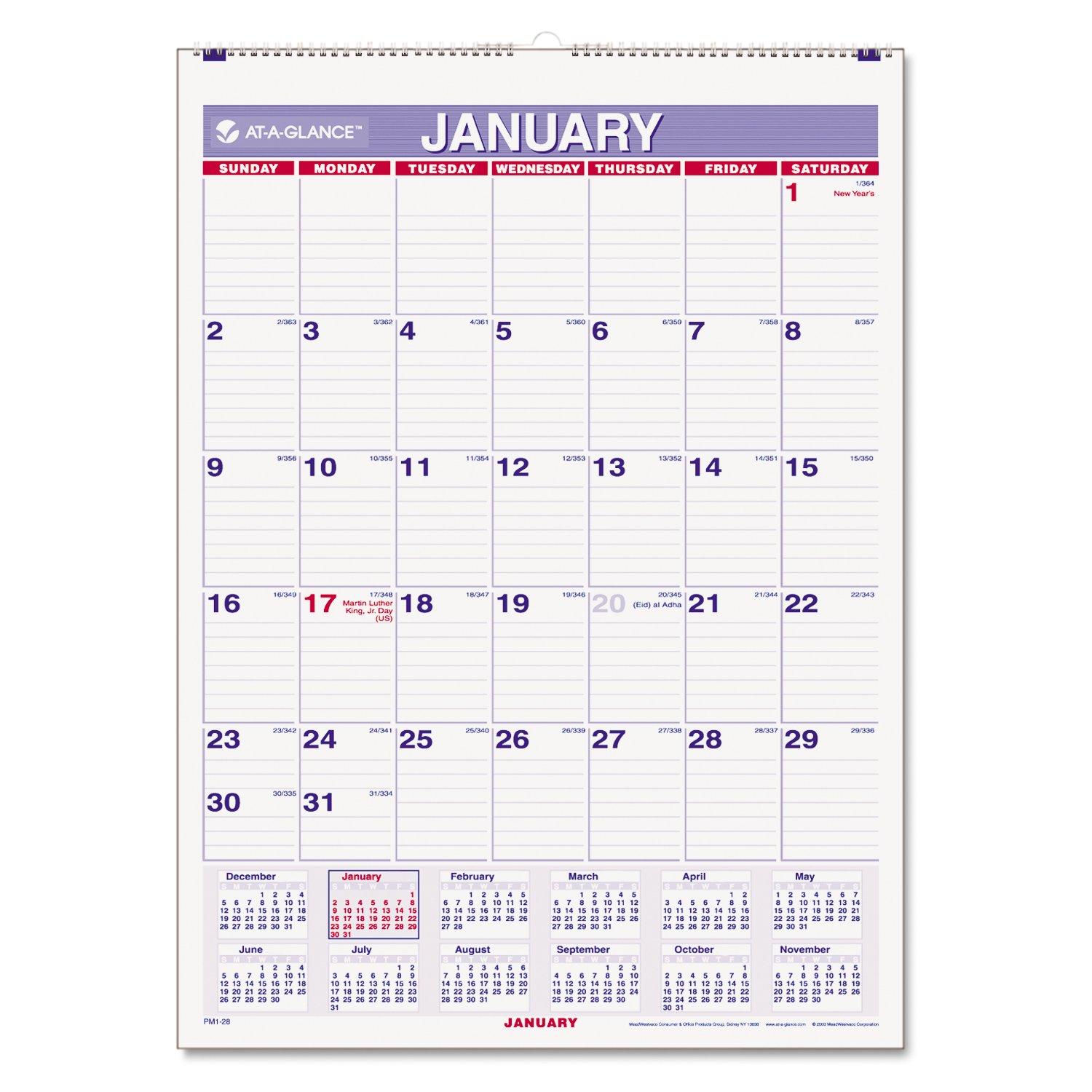 amazon com at a glance pm1 28 recycled monthly wall calendar blue