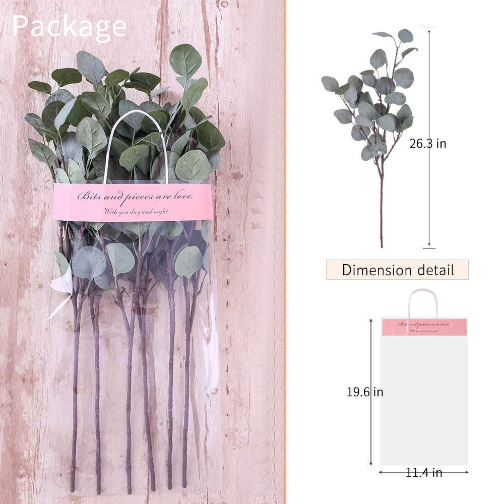 Maple Red YUYAO Artificial Plants Silver Dollar Eucalyptus Leaves 6Pcs Leaf Silk Artificial Greenery Stems Fake Plants Leaves for Home Wedding Party Decoration