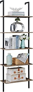 SUPERJARE Industrial Ladder Shelf, 5-Tier Wood Wall-Mounted Bookcase with Stable Metal Frame, 72 Inches Storage Rack Shelves Display Plant Flower, Stand Bookshelf for Home Office - Vintage Brown