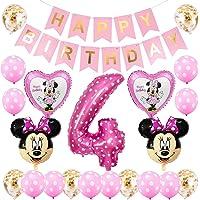 BESTZY Minnie ballonnen, 4e verjaardag decoraties voor meisjes Minnie thema verjaardag decoraties Minnie Party Supplies…