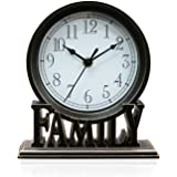clumsy pets 6.5 Inches Table Clock, Vintage Non-Ticking Family Mantel Desk Clock Battery Operated with Quartz Movement HD Gla