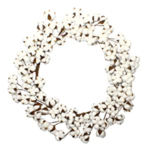 VGIA 28 Inch Real Cotton Wreath Farmhouse Decor Christmas Vintage Wreath