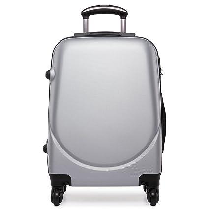 f252deab6 Hard Shell 4 Wheels Hand Luggage Suitcase Cabin Light Plain Trolley Travel  Bags (Grey)