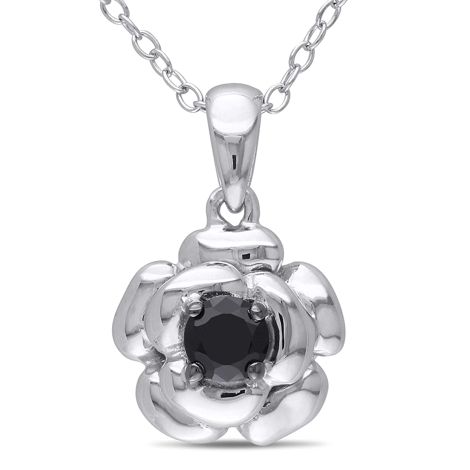 1.20Ctw Round Cut Black Simulated Diamond Flower Women Pendant Necklace14K White Gold Finish