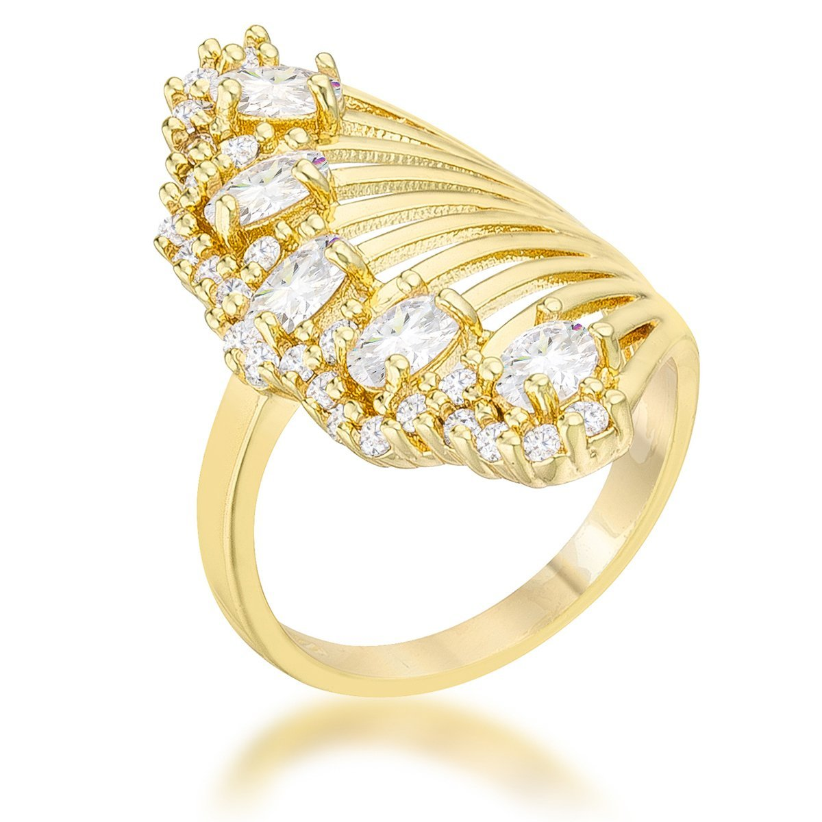 WildKlass 2.15ct CZ 14k Gold Plated Contemporary Cocktail Ring