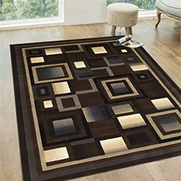 Amazon Com Handcraft Rugs Chocolate Brown Beige Gold Gray Abstract