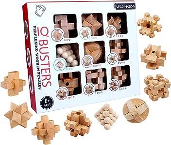 BOROK Rompecabezas Madera, 9 Pack 3D Puzzles Adultos Juegos de Ingenio Juegos de Mesa Juego IQ Juguete Educativos Habilidad Juego Logica Calendario de Adviento Niños: Amazon.es: Juguetes y juegos