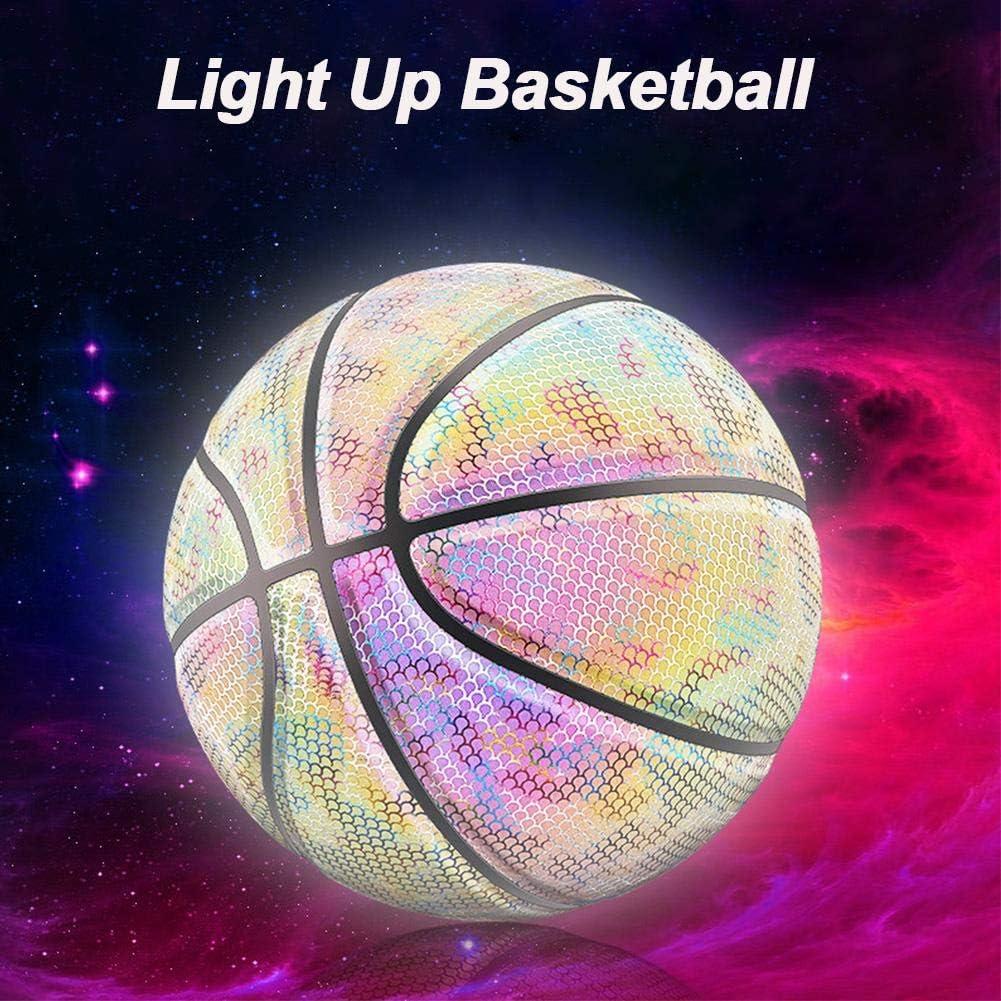 Taglia 7 ZY123 Illumina Pallone da Basket Arcobaleno Senza Batteria Bagliore PU Bagliore Fluorescente Luminoso Doposole Brillare Light-up Basket per Uomo Teen Boy-Official Dimensioni E Peso