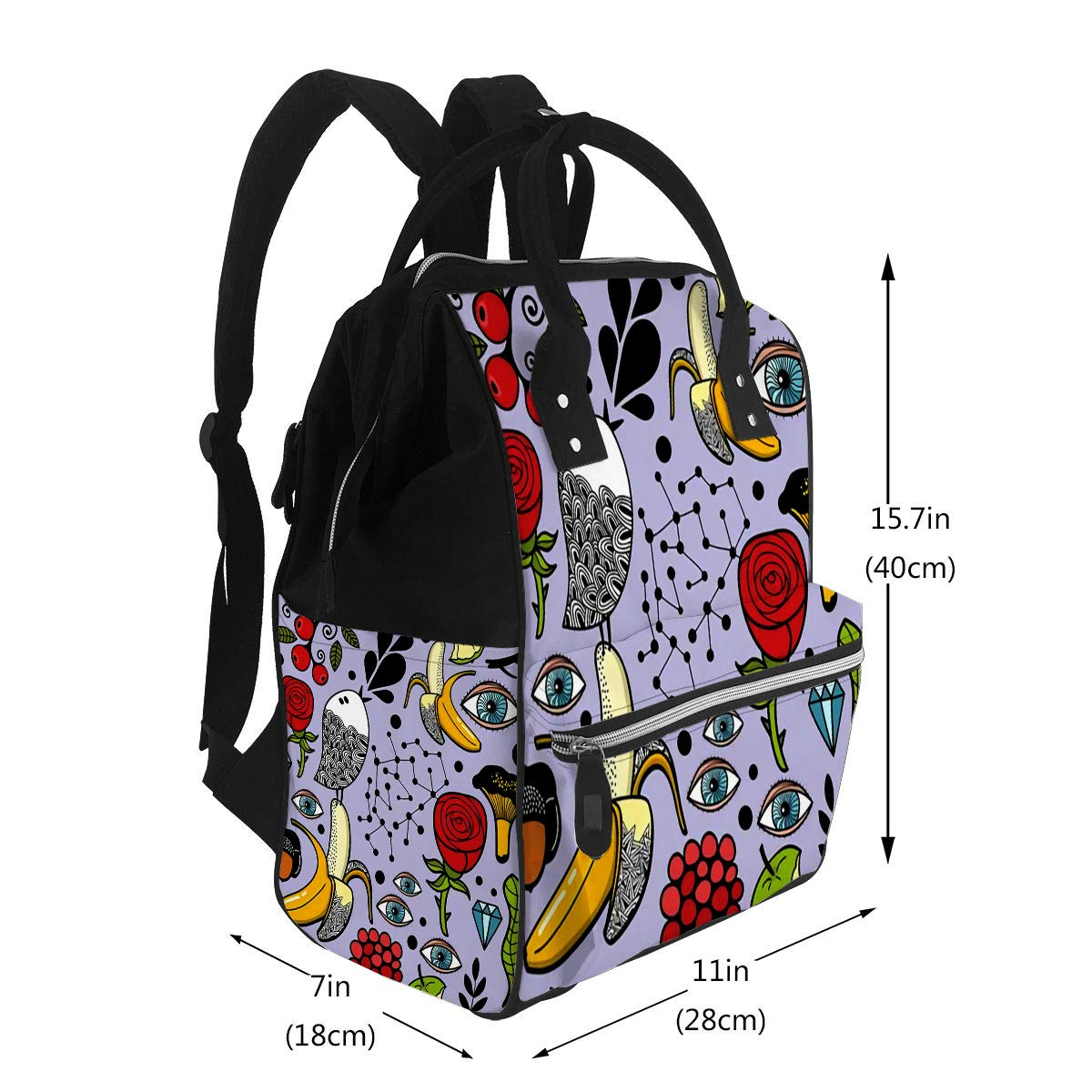 Baby Care Diaper Backpack Human Eyes and Nature Elements Art Diaper Bags Backpack