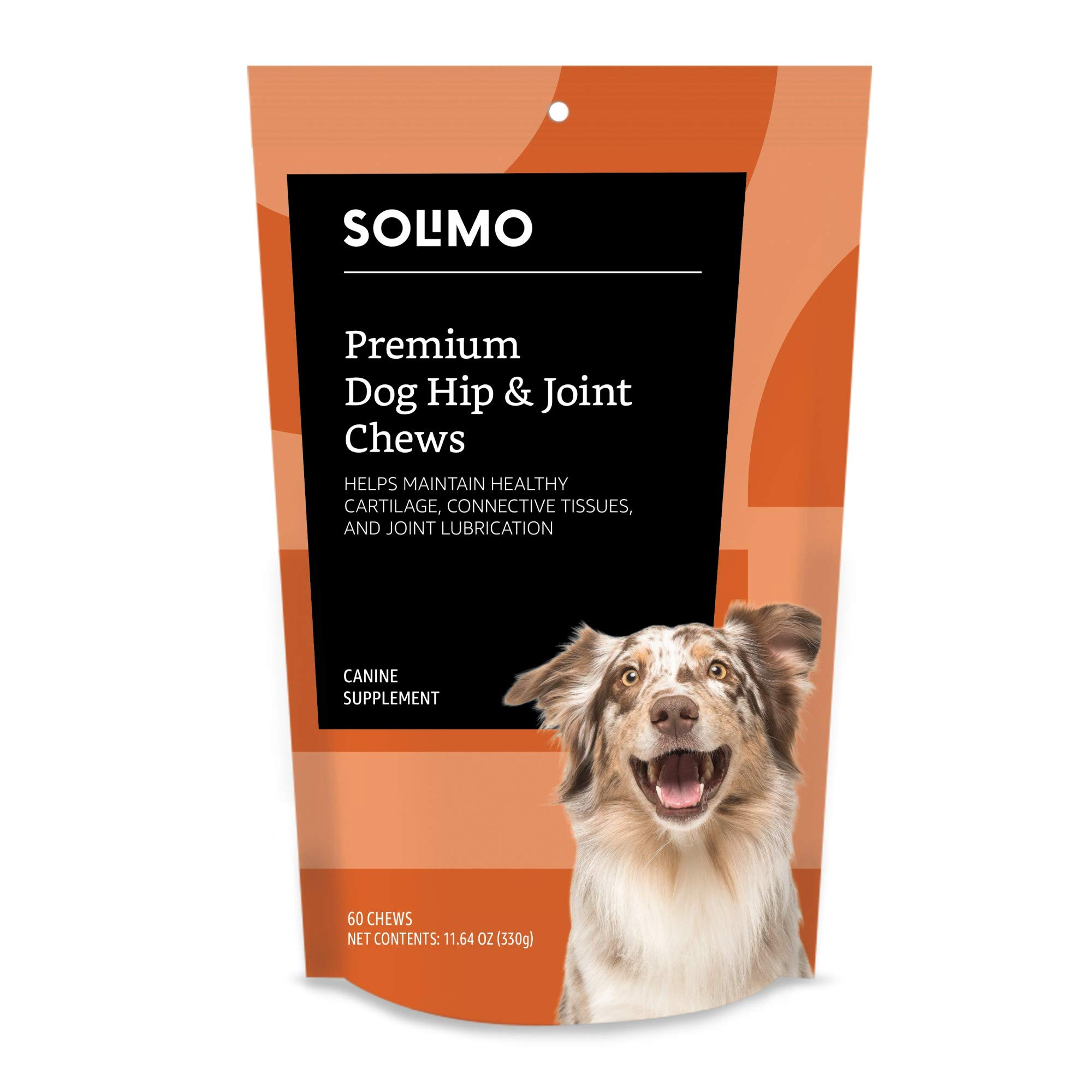 Amazon Brand - Solimo Premium Dog Hip & Joint Supplement Chews, 60 Count