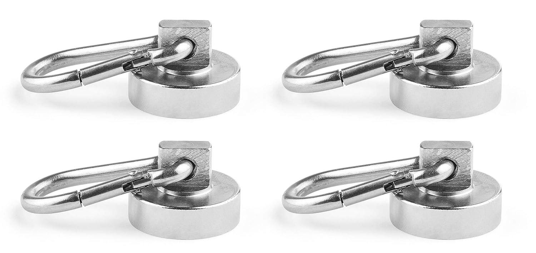 starke Magnethaken Neodym Haken-Magnete /Ø 25 mm 2 St/ück Topfmagnet mit Karabiner-Haken Haftkraft 22 kg