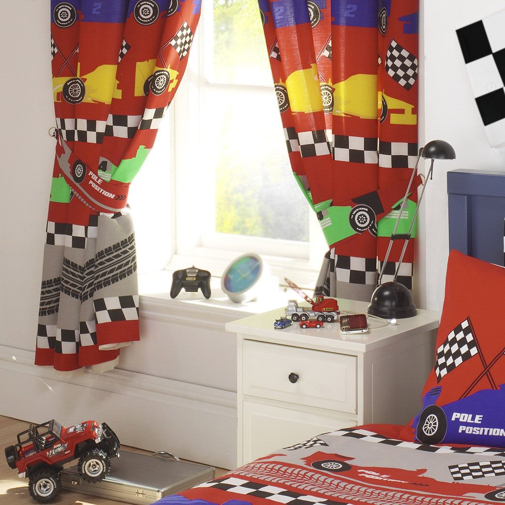 FORMULA F 1 RACING CARS BOYS FULLY LINED CURTAINS SET 66 X 72 MATCHES DUVET Amazoncouk Kitchen Home