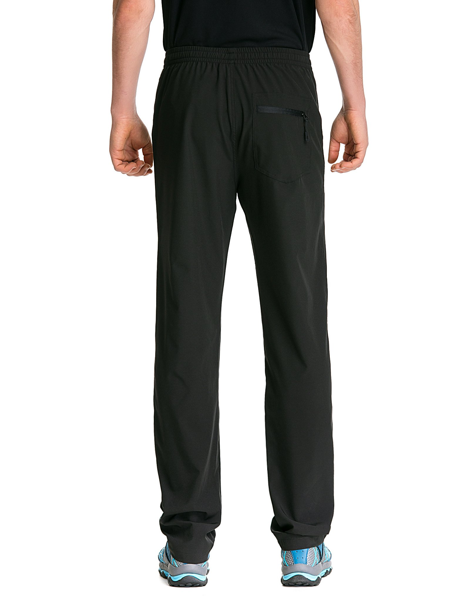 Trailside Supply Co. Men's Light Weight Stretch Elastic-Waist Drawstring Track Running Gym Pants Large Black by Trailside Supply Co. (Image #4)