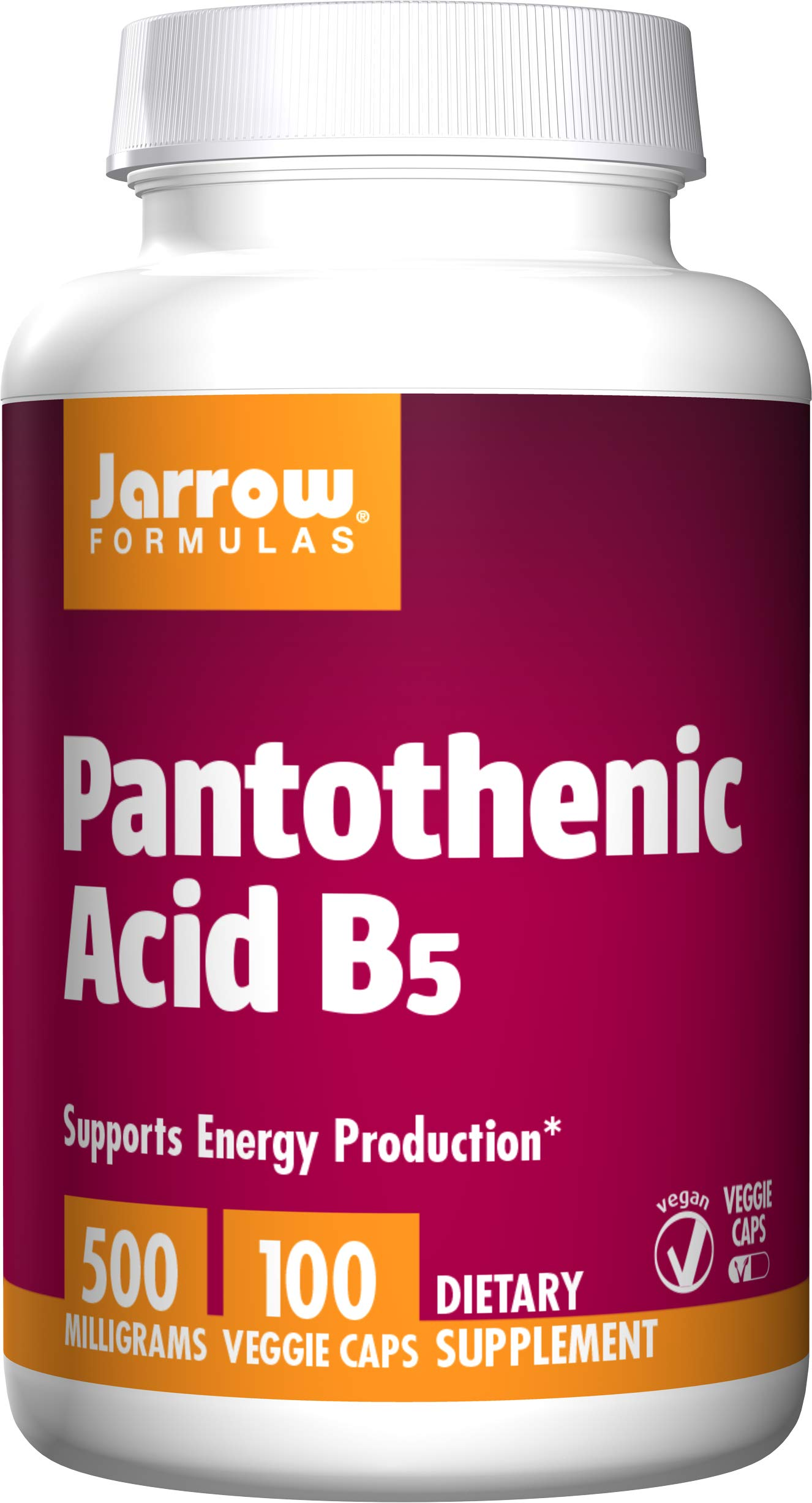Jarrow Formulas Pantothenic Acid, B5, Supports Energy Production, 500 mg, 100 Capsules (Pack of 3) by Jarrow Formulas