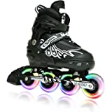 M-GRO Adjustable Inline Skates for Kids and Adults with Featuring All Illuminating Wheels and Tool Outdoor Roller Skates…