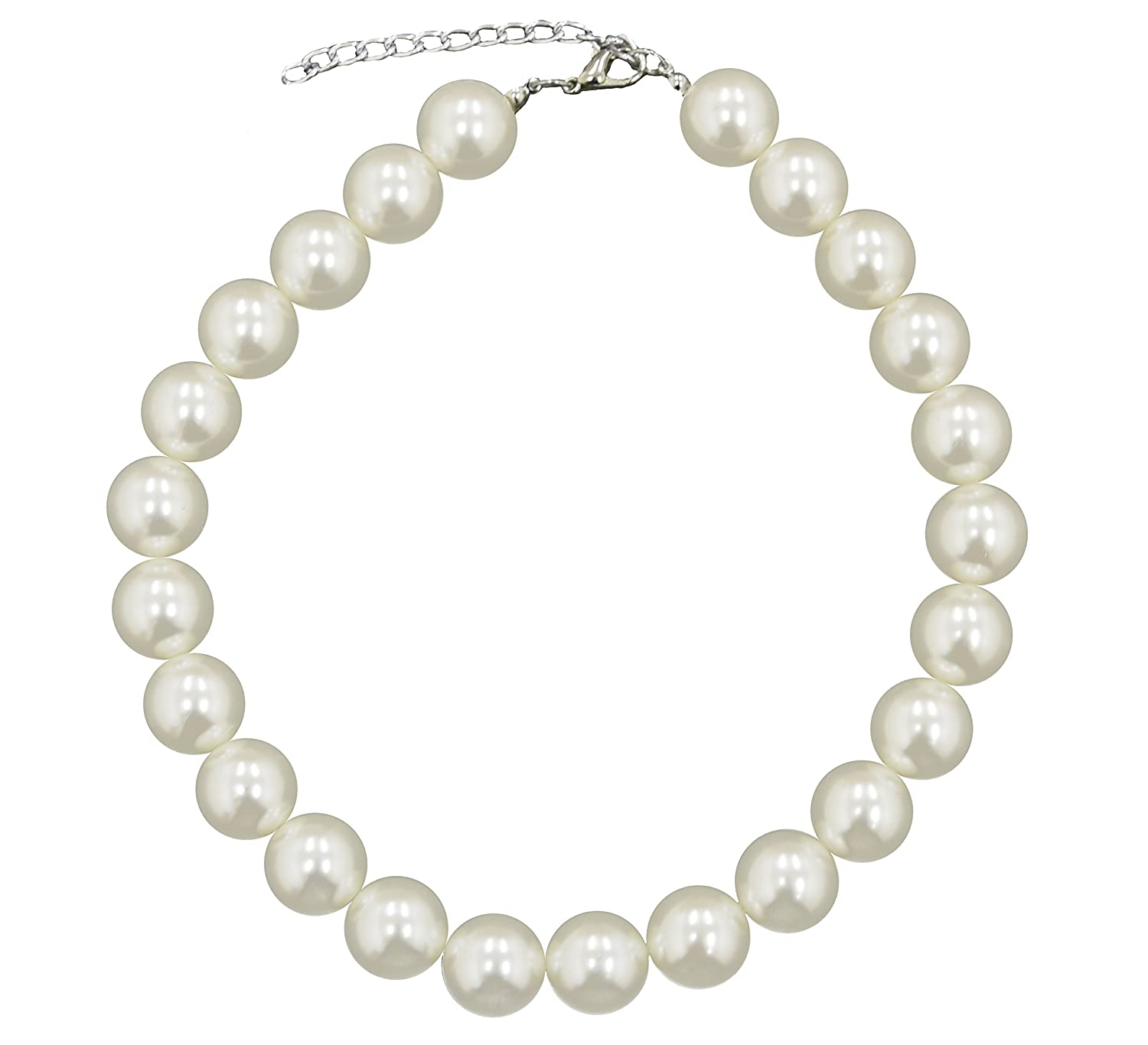 8ac2f664bb897 Caprilite 18mm Large Big Giant Faux Pearl Necklace Light Cream Vintage  Great Gatsby: Amazon.co.uk: Jewellery