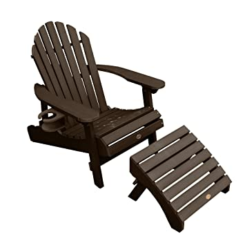 Highwood 1 Hamilton Folding U0026 Reclining Adirondack Chair With 1 Ottoman U0026 1  Easy Add