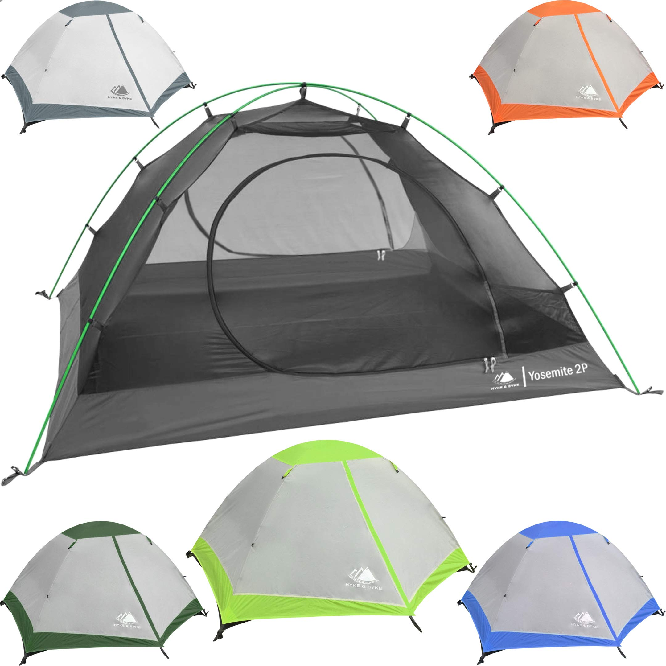 Hyke & Byke 2 Person Backpacking Tent with Footprint - Lightweight Yosemite Two Man 3 Season Ultralight, Waterproof, Ultra Compact 2p Freestanding Backpack Tents for Camping and Hiking (Lime Green) by Hyke & Byke