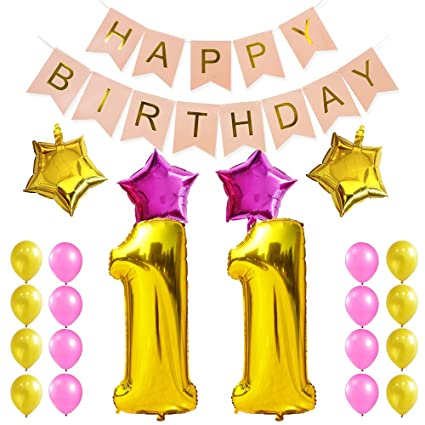 Kungyo Dulce Fiesta De Cumpleaños Kit Decoraciones Happy Birthday Bandera Rosada Número 11 Mylar Foil Globo 16 Piezas Rosa Oro Globo De Látex