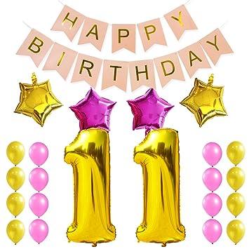 KUNGYO Dulce Fiesta de Cumpleaños Kit Decoraciones Happy Birthday Bandera Rosada; Número 11 Mylar Foil Globo 16 Piezas Rosa Oro Globo de Látex ...