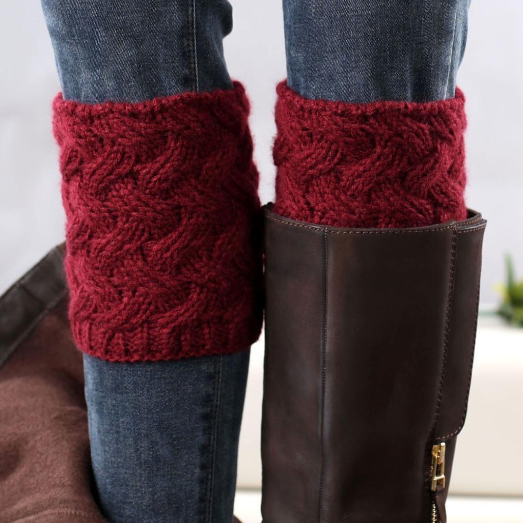 Beige, 15 cm TWIFER Winter Frauen Kurze Stulpen Absatz grobe Nadel Beinw/ärmer Socken Boot Cover