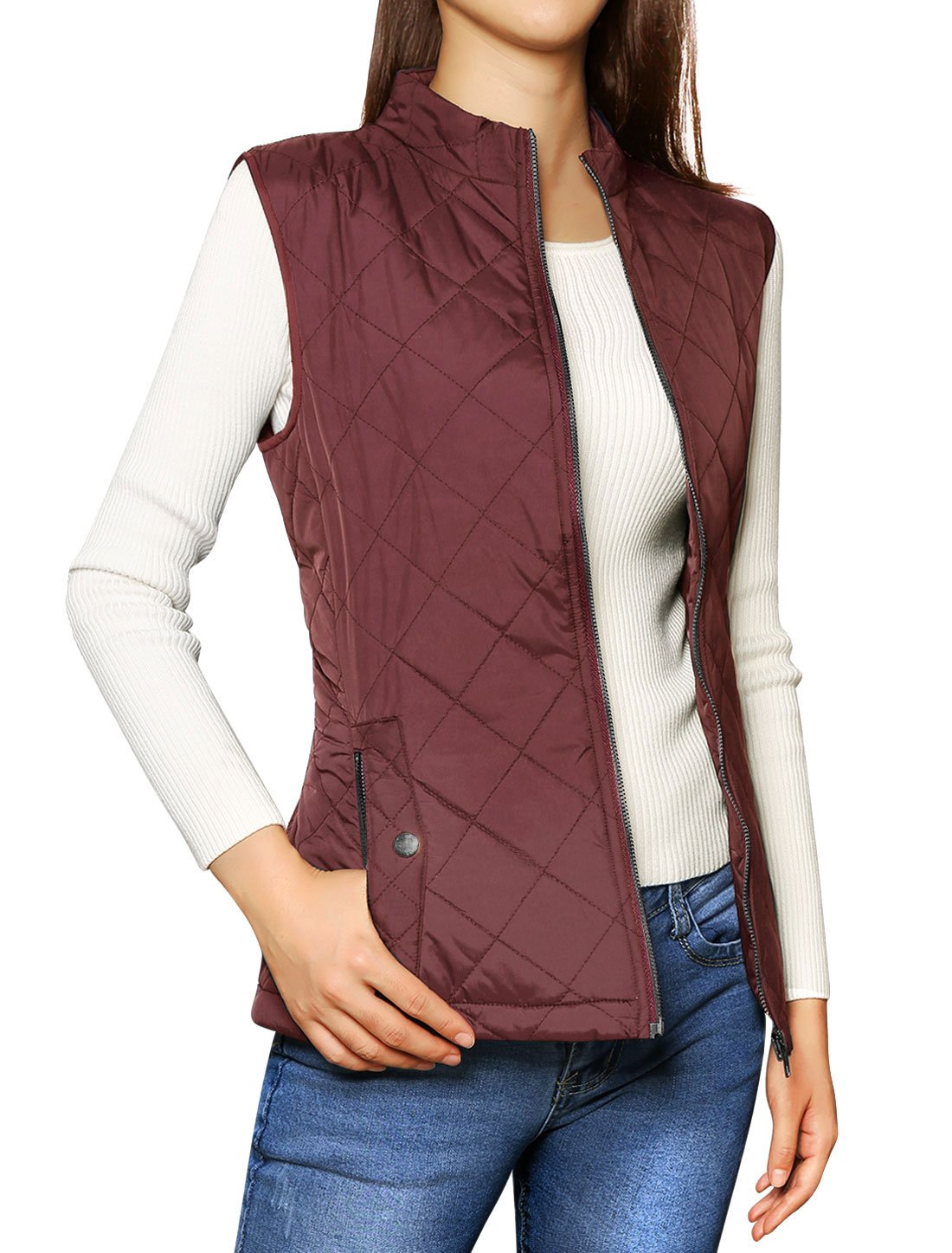 Allegra K Women's Stand Collar Lightweight Gilet Quilted Zip Vest Red X-Small