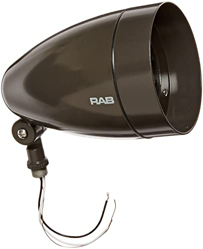 RAB Lighting HBLED13A Bullet Shape Cool LED Floodlight with Hood and Lens, Aluminum, 13 Watts, 724 Lumens, 277 Volts, Bronze Color
