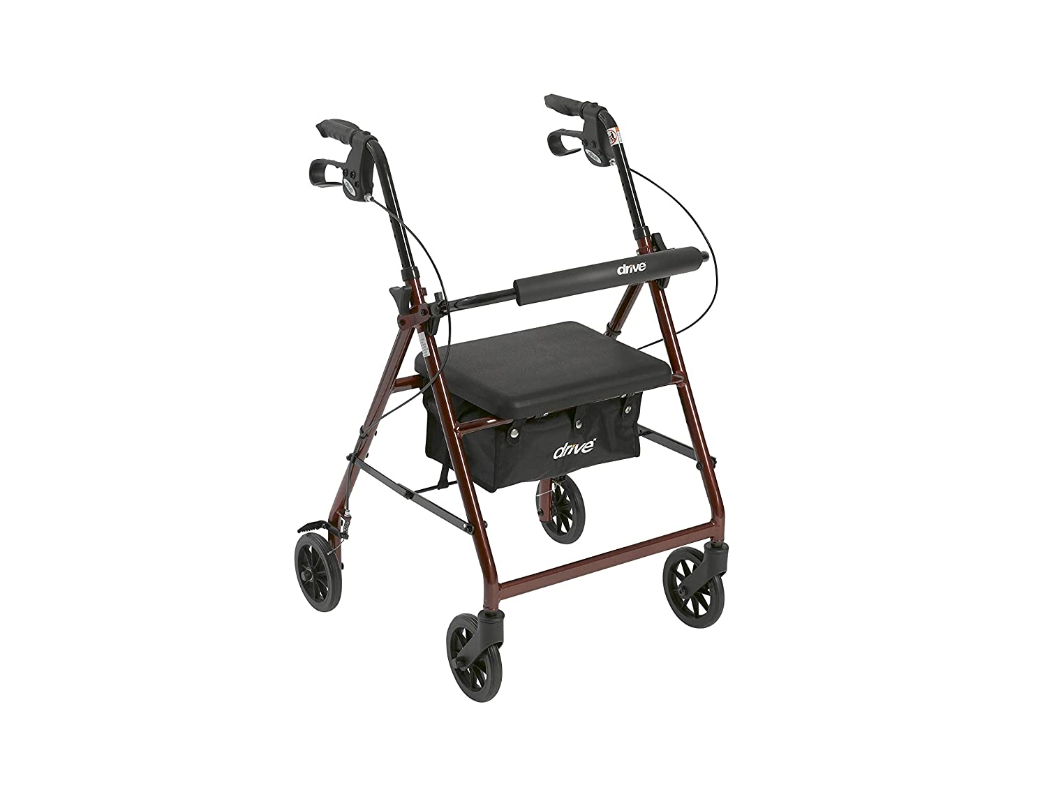 "Drive Medical Aluminum Rollator Walker Fold Up and Removable Back Support, Padded Seat, 6"" Wheels, Red"