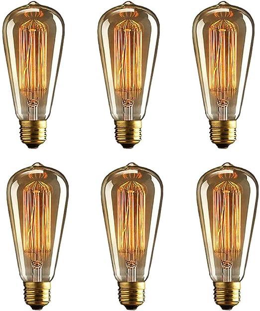 Simple Vintage ST64 Edison Light Bulb E26 60W Retro Amber Tinted Squirrel Cage