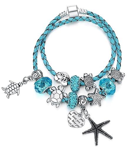 7d2967baa Majesto European Ocean Beach Charm Beaded Leather Wrap Wrist Bracelet Bangle  7 Inch for Women Teen