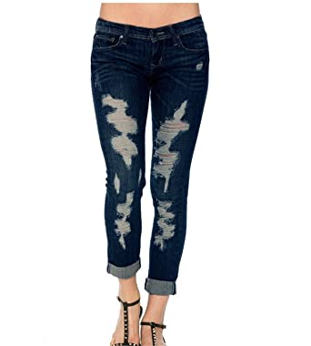 62819e998c1e Zhen yi Women s Slim Destroyed Fit Stretchy Skinny Jeans Waist Pencil Feet  Pants ...