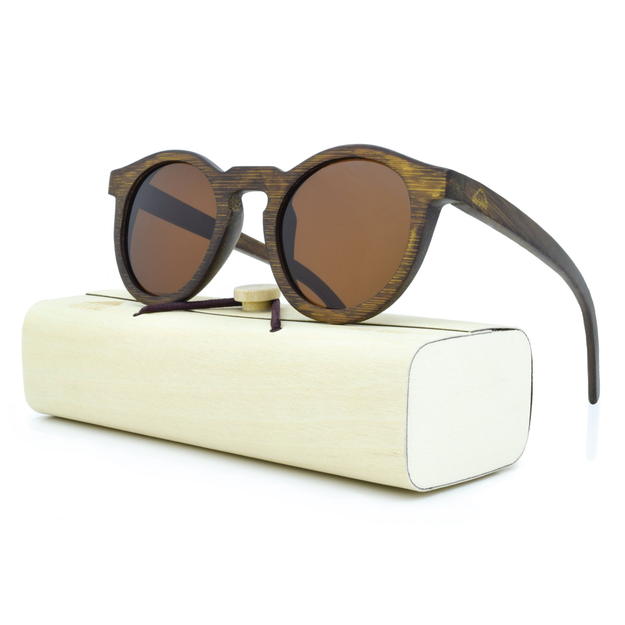 Round Wooden Sunglasses for Men & Women, Polarized Lenses, 100% Real Wood, Perfect Gift by Rooted Shade